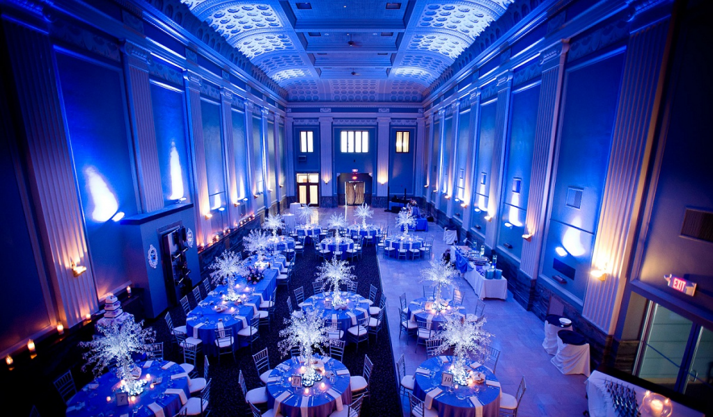 wedding uplights blue