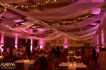 Pink uplighting for wedding