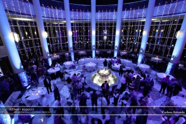 blue uplighting for wedding