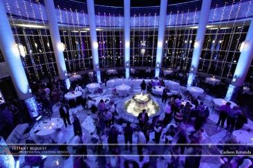 blue uplighting for wedding